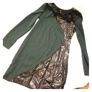 Dark green, faux-leather-color-block dress